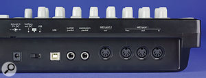 The 25SL can be powered by batteries or over USB. Other than that, the connectors are fairly standard, with two MIDI ports, the USB socket for connection to your computer, and sustain- and expression-pedal jacks.