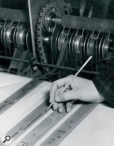The Oramics machine was programmed by painting spots and lines on 35mm film. In many ways, it was the first digitally controlled synthesizer.