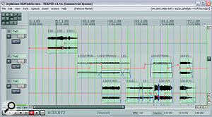 This is ascreenshot from aMix Rescue remix session that happened to use anumber of several different pad sounds. Notice how the levels of the pads are automated with both region envelopes and level automation, to provide the maximum enhancement of the mix sonics while at the same time avoiding the pads becoming too clearly perceptible in their own right.
