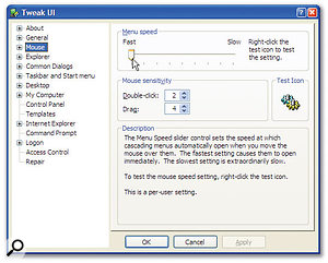 Making cascading menus appear instantly by setting this TweakUI slider to its fastest setting is not an essential tweak, but it certainly makes my Windows XP experience a lot more pleasurable!