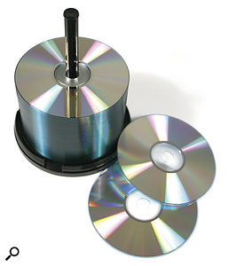 CD-R discs on a spindle.
