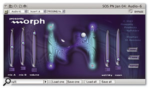 Yet another VST plug-in brought to life in DP 4 by VST to AU Adaptor, Prosoniq's Morph uses technology from the Hartmann Neuron synth to turn one audio signal into another, in real time.