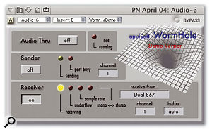 ApulSoft's Wormhole Audio Unit plug-in, here receiving a stereo 44.1kHz signal from a Dual G4 867MHz Mac via a single ethernet cable.