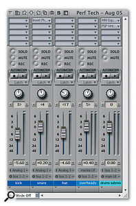 Routing the output of several tracks via a buss or buss pair to an aux track allows them all to share the plug-ins on the aux track. Here several drum tracks are being treated by an EQ and limiter on the Aux (the track at far right)