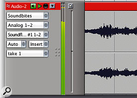 In DP5, Audio Patch Thru is selected on an individual, track-by-track basis. There are three ways you can turn on input monitoring for a track: click in the 'MON' column in the Tracks window; engage the Input Monitor button in the Mixing Board; or click the 'speaker' box by the track name in the Sequence Editor.
