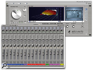 Here, 16 tracks are utilising their Aux Sends to share a single reverb and still retain individual control over reverb levels — a flexible and very economical arrangement. The Mixing Board is shown in its narrow view mode, with a cut-down insert and send section.