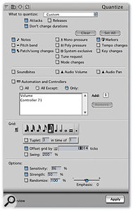 Who said quantise was just for MIDI notes? DP lets you quantise every kind of sequence event (except loops, actually) via the Quantize window's 'Custom' view.