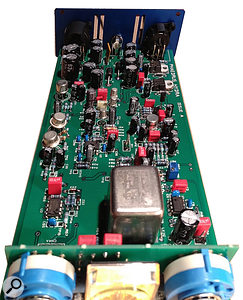 The NOS germanium transistors for the Olympic Sound preamps are at the bottom, and the BC109s for the Abbey Road preamp just above, with the associated band-pass filter stages to the right. Below the input transformer is a  gyrator circuit — a  form of synthesised inductor — which is part of the Drive circuitry — and the VU meter driver sits above the transformer.