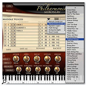 A section of the enormous Combination list: many examples are virtual orchestras or whole sections playable from the keyboard.