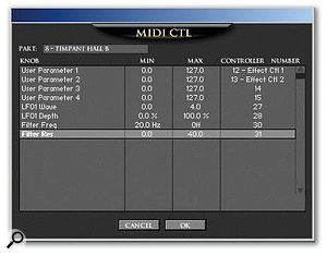 In the MIDI Control pop-up, any parameter can be assigned to an external MIDI controller.