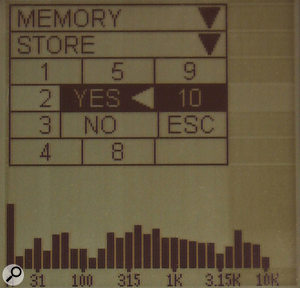 The Memory Store page, where you can save analyser readings.