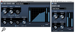Spot the difference! The compressor on the left has athreshold control, which you adjust to suit the level of the source. The one on the right has afixed threshold: the input control raises the level of the source above the threshold, so the compression kicks in, and the output control compensates for any perceived changes in level.