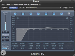 How much EQ boost and cut you apply depends entirely on the source material and the track. To make use of EQ presets, it's best to keep the frequency bands fixed, but tweak the amount of cut and boost. Be careful not to end up simply boosting all frequencies though!