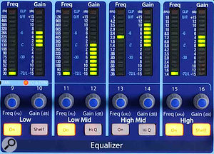The LED displays for the EQ (pictured), compressor and other processors make it very easy to see the settings for the selected channel at a glance.