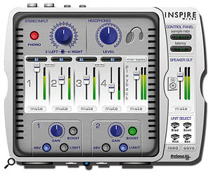 Almost all of the Inspire's features and options are set up via the software control panel.