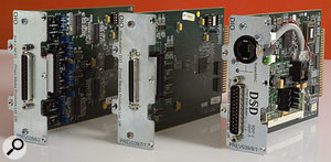 A large range of different digital interfacing cards are available for the ADA8XR, including options catering for AES-EBU (left), Pro Tools Mix systems (centre), and SDIF 2/3 and SuperMAC (right).