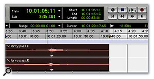 Above: I've added a 'sync point' to the effect region at the significant point (in this case, where the lorry passes the listener). This can then be used to 'spot' the region to a timecode value.