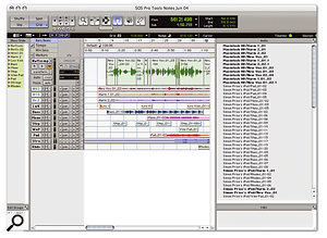 Sorting by Disk Names in the Pro Tools region list provides an easy way to see whether your Session incorporates any stray files that are on the 'wrong' disk.