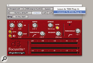 You can switch an open plug-in between RTAS and TDM formats, without losing settings, by clicking above the target icon.