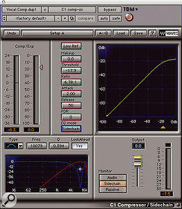 Waves' C1 side-chain compressor, with the appropriate settings for the final vocal brightening trick described in the main text.