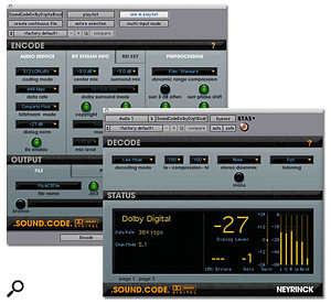 Neyrinck's Sound Code plug-ins allow you to encode Dolby AC3 audio from within Pro Tools.