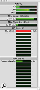 This typical mastering Session, with 12 tracks each hosting three real-time plug-ins, will happily run on an HD2 rig (far left) or using entirely host-based processing (left) on an Apple G4.