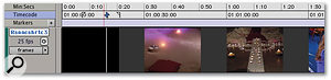 You can choose whether Pro Tools' video track displays your video file as Blocks (top) or Frames. The latter is helpful, but demands more of your computer.