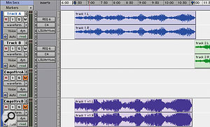 Once you've processed your songs using the Audiosuite plug-ins (left), place the processed files on a track with no real-time plug-ins inserted, and restore the unprocessed version to the original track in case it needs to be revisited.