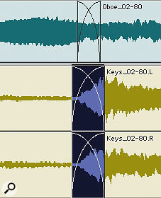 Before and after: a crossfade is used to smooth the transition between Regions at an edit boundary.