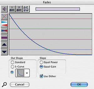 If you're doing a fade in or out rather than a crossfade, the Fades dialogue is simplified.