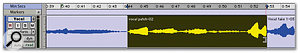 With Quick Punch enabled, <em>Pro Tools</em> records in the background even outside the area you meant to drop in on, so you can later Trim to make the drop-in section longer (below).