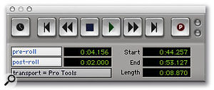 The Transport window's Record button shows a 'P' when Quick Punch is enabled.