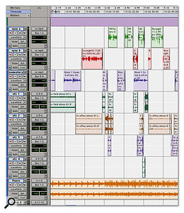 When you import an OMF into Pro Tools, stereo parts will be split across two mono tracks, and the order of the tracks might not be very helpful (top). The first stage in working with such a project is usually to reorganise and rename the tracks to make it easier to see what's going on (above).
