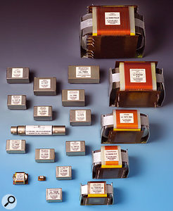Transformers come in many shapes and sizes, but are almost all relatively bulky. Lundahl's range (some of which is shown here) demonstrate this. The boxy, silver-coloured devices on the left are mostly input transformers for mic and line signals, while the larger ones on the right are output transformers for use in applications such as tube amplifiers.