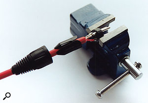 Make sure that your connector is securely fastened in a vice or clamp to stop any movement while you solder.