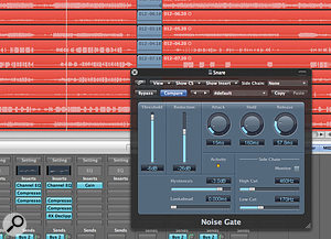Logic's Noise Gate plug‑in's side‑chain filtering and range (Reduction) control make it useful for processing drum recordings to reduce spill.