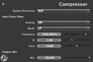 The advanced settings panel in Logic's built-in Compressor plug-in contains side-chain equalisation facilities which can be very useful if you're trying to sensitise (or desensitise!) the compressor to a  mandolin's picking transients.