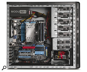 The aim in laying out your case is to encourage good airflow across the components. Cooler air is drawn in at the bottom of a tower case. As it warms it rises and is drawn out of the case by the fans at the top rear.