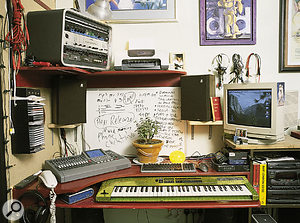 Robbie's well-organised work desk holds a Roland VS1680 recorder and Roland D5 keyboard. Above in the rack: ART FXP multi-effects, Alesis 3630 compressor, Focusrite Penta compressor and Lexicon MPX500 multi-effects processor.