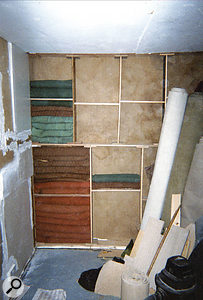 Robbie's work-in-progress photograph shows the soundproofed room under construction.