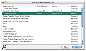 The Remote Overrides window, where you can assign controls for changing patches and re-targeting your MIDI controller.