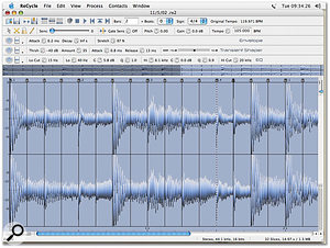 And here's what the first bar of a two-bar loop taken from a full audio mix looks like, sliced on the grid.