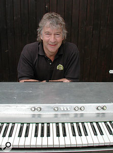 Ken Freeman in 2005 with Prototype #4, the last and greatest of the string synthesizers he designed.