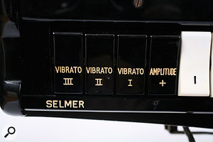 Three speeds of vibrato were available, at one of two depth settings controlled by the Amplitude switch.