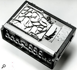 Before digital delays became widespread, a common way of implementing delay was using tape loops. One of the most popular tape delays was the Roland RE201 Space Echo, which held a long tape loop in a bin just beneath its lid, as shown in the black and white picture. The unit also included spring-based reverb which could be combined with the outputs of the machine's various tape heads. Tape delay remains popular, but is most likely to be encountered in digitally modelled form in plug-ins such as Universal Audio's new RE201 recreation (above).