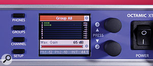 Physical control of this preamp is via the two digital encoders, which provide speedy access to parameters via aseries of menus.