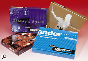 The themed card-based SR JV sound expansion libraries (of which just a few of the earliest are shown here) were compatible with nearly all of Roland's sample-and-synthesis based products of the '90s, and were hugely successful.