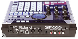 The rear of the SP555 accommodates all of the unit's I/O connections, with the exception of the headphone port and a jack/XLR combi input, which are found on the front and main panels respectively.