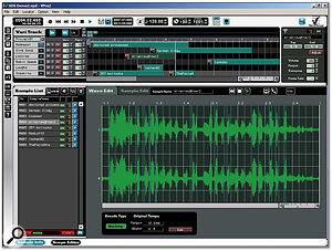 Here the Sample List window can be seen below, with a waveform selected for editing.