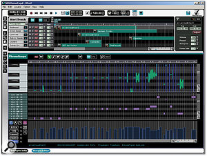 Editing a melodic phrase in the PhraseScope window (the lower of the two windows shown here). The waveform can be seen at the top, split into vertically arranged fragments corresponding to the different pitches in the phrase. These notes may be edited by MIDI note number in the pane below. The lowermost display is assignable and can be set to display velocity (as it is here), pitch, time, or formant information.